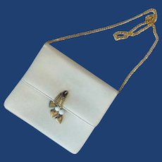 Small White Leather Morris Moskowitz Shoulder Purse