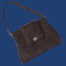 1920's Leather Handbag Brown Purse