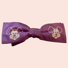 Vintage Child's  1950's Purple Mickey Mouse Bowtie
