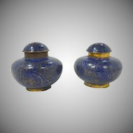 Cloisonné Cobalt Blue Salt and Pepper Shakers
