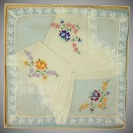 3 White Handkerchiefs in Box Embroidered Flowers
