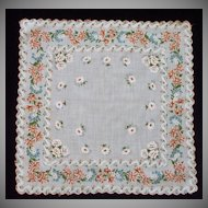 Scalloped Edge Orange Blue on White Flower Handkerchief Hanky Hankie