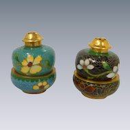 2 Pair Stacked Cloisonné Aqua Blue & Black Salt & Pepper