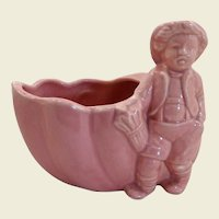 Pink Boy with Umbrella and Snail Pottery Planter 1950's
