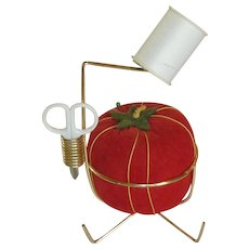 Large Red Tomato Pin Cushion and Pin Cushion Holder