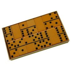 Butter Scotch Yellow Marblelike Dominoes Game Set / Box