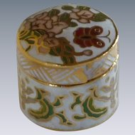 White Cloisonne Miniiture Keepsake Cylinder Box