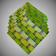 6 Bright Apple Green Lattice Print Cloth Napkins