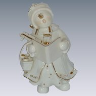 Christmas Caroling Snowman Woman Figurine