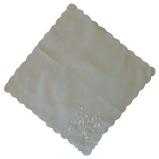 White Embroidered Flower on White Linen Handkerchief