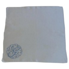 Blue G Initial White Handkerchief Hankie Hanky