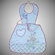 Bib 1940's White Embroidered Apron