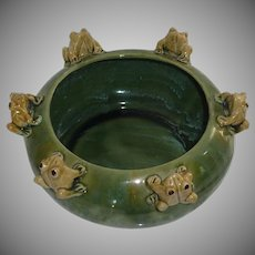 Shallow Oval Green Planter with Pottery Frog /Toad Detail