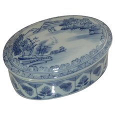 Oval Asian  Blue and White Porcelain Box w/Lid
