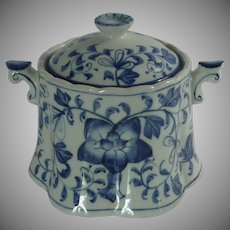 Blue and White Porcelain Large Sugar Bowl w/Lid