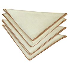 Four Light Crème with Brown Edge Linen Napkins
