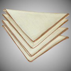 Four Light Crème with Brown Edge Linen Napkins