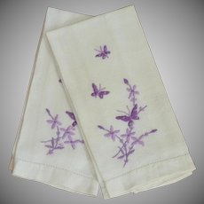 Two White Hand Towels with Purple Embroidered Butterfly