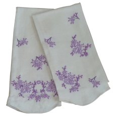 Two White Hand Towels with Purple Embroidered Lilac Flowers