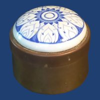 Brass Round Trinket Box with Blue and White Porcelain Top