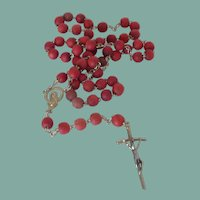 Red Bead Crucifix Rosary and Pouch