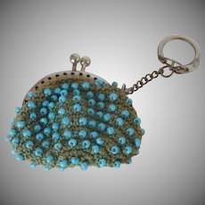 Key Chain Aqua Bead Crochet Coin Purse