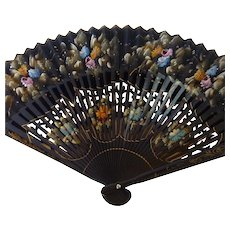 Beautiful Hand Painted Flowers on Black Hand Fan