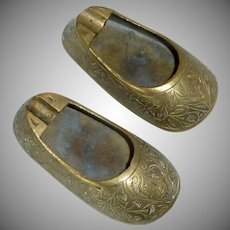 Brass Etched Shoe Ashtray Pair  / 1950's