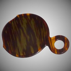 Faux Tortoise Shell Hand Held Beveled Glass Mirror