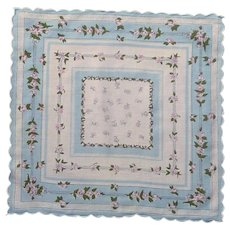 Scalloped Baby Blue and White Handkerchief with Pink Roses