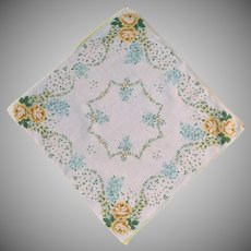 Yellow Roses on White Handkerchief with Blue