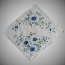 White with Blue and Yellow Primrose Flower Handkerchief