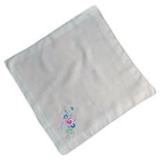 White Handkerchief with Blue and Pink Flowers