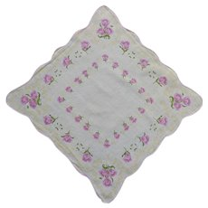 White Scalloped Handkerchief with Pink and Yellow Flowers