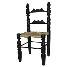Black Miniature Doll Chair with Rush Style Seat