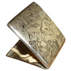 Unusual Etched Cigarette Case Silver Plate