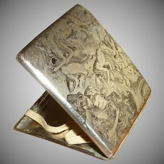 Unusual Etched Cigarette Case Silver Plate