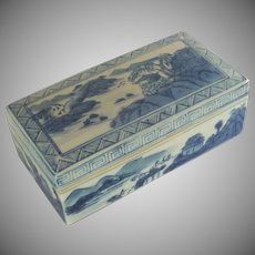 Large Hand Painted Blue and White Porcelain Chinese Asian Box