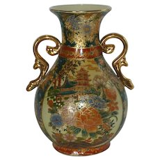 Chinese Asian Green and Orange Urn Vases