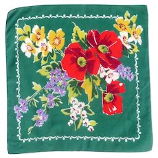 Green Handkerchief Hanky with Red Poppies