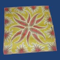 Lime Green Fern  Pattern with Pink Orange Handkerchief Hanky