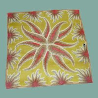Lime Green Fern  Pattern with Pink Orange Handkerchief Hanky