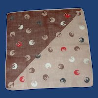 Geometric Brown Red Tan Shapes 1950's Handkerchief