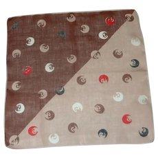 Geometric Brown Red Tan Shapes 1950's Handkerchief