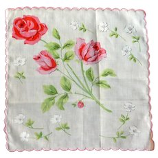 White with Large Pink Red Roses Handkerchief Hankie