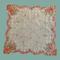White Organza Handkerchief with Red Roses