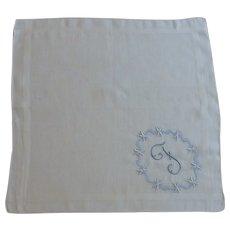 Initial F White Cotton Handkerchief Hanky