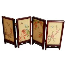 Miniature Asian Wood 4 Panel Folding Screen