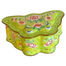 Asian Chinese Enamel Trinket Butterfly Box