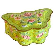 Asian Chinese Enamel Trinket Butterfly Box